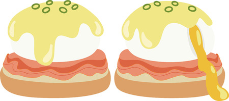 What a cool design of eggs benedict!  This would be great on a kitchen apron or on place mats. Illustration