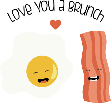 What a fun design of bacon  eggs. This would be great on a kitchen apron or on place mats.