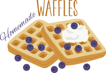 whip: What a fun design of delicious blueberry waffles. This would be great on a kitchen apron or on place mats. Illustration