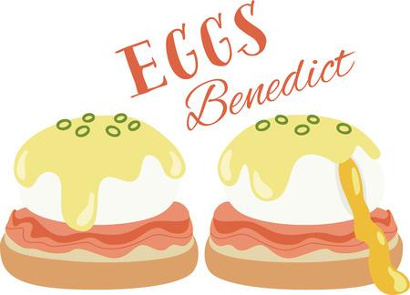 どのようなエッグベネディクトのクールなデザイン! これはキッチン エプロンやランチョン マットは素晴らしいことです。 写真素材 - 53239249
