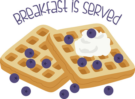 What a fun design of delicious blueberry waffles. This would be great on a kitchen apron or on place mats. Иллюстрация