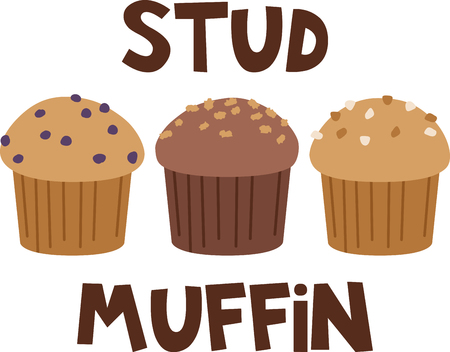 muffins: What a fun design of delicious muffins. This would be great on a kitchen apron or on place mats.