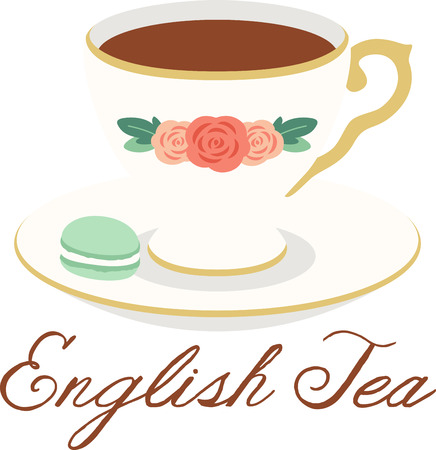 What a pretty design of a delicate tea cup. This would be great on a kitchen apron or on place mats.