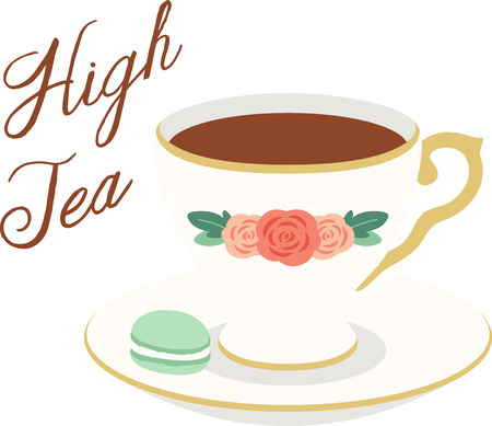 mats: What a pretty design of a delicate tea cup. This would be great on a kitchen apron or on place mats.