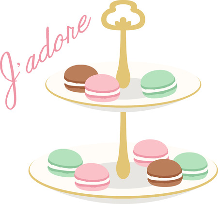 What a pretty design of french macaroons. This would be great on a kitchen apron or on place mats.