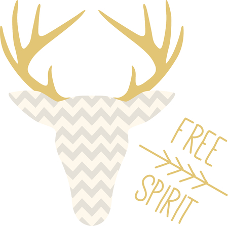 whitetail deer: The hunters in your family will love this cool chevron deer head!  Print it on a tee or cap for a great gift idea! Illustration