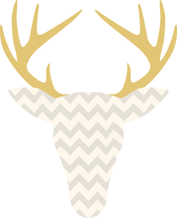 The hunters in your family will love this cool chevron deer head!  Print it on a tee or cap for a great gift idea! Ilustração