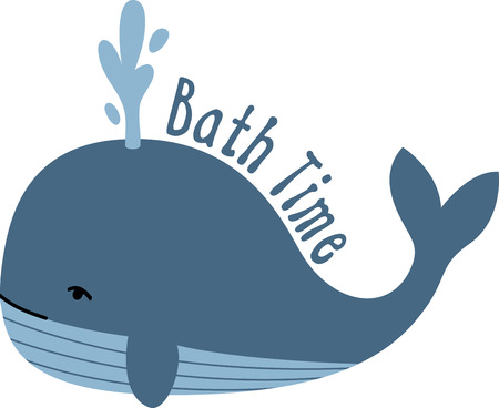 This blue whale design is adorable!  Use this on a childs tee or on a pillowcase to decorate a nursery!