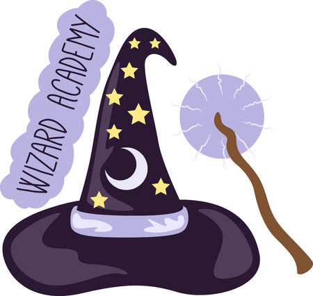necromancer: Add some magic to any project with this wizard hat  wand design!  Use this on a childs shirt or on special blanket! Illustration