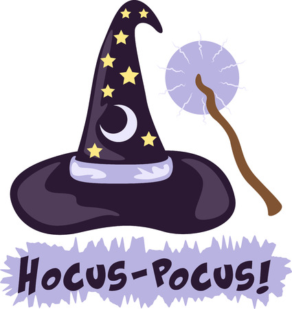 wizard hat: Add some magic to any project with this wizard hat  wand design!  Use this on a childs shirt or on special blanket! Illustration