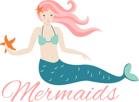 mythological character: Live under the sea with this pretty mermaid design!  Use this on a childs shirt or beach towel! Illustration