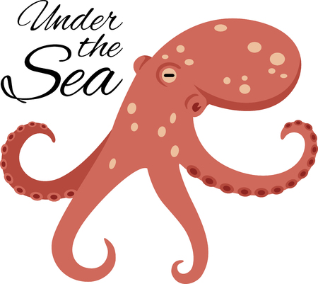 Live under the sea with this awesome octopus design!  Use this on a childs shirt or beach towel! Ilustração