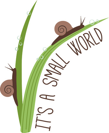This is a cute design with snails!  Use this on a childs shirt or tote bag!
