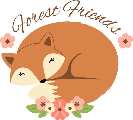 Dit zo'n mooie slapende vos bloemen logo! Gebruik deze op het shirt of een totalisator van een kind zak! Stock Illustratie