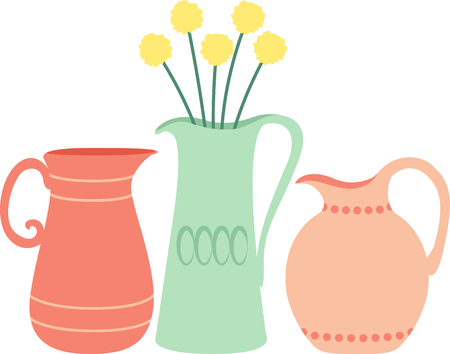 This design of flowers  vases is very pretty.  Use this on a garden tote or tee.