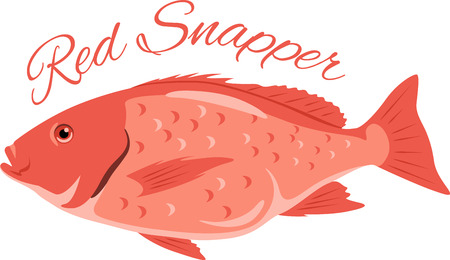 Fish lovers will appreciate this red snapper design!  Use this on a apron or tee for the fisherman!