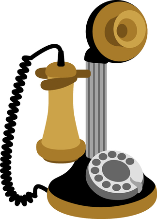 This is an awesome logo of an antique telephone!  Use this on home decor for a vintage look. Ilustração