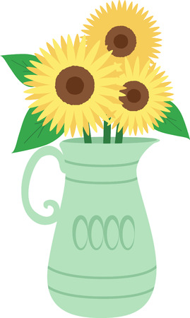 Spread a little sunshine with this design of sunflowers in a vase!  This would look cute on a tee or tote bag.