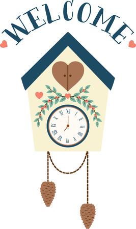 reloj cucu: Lo que es un diseño bonito reloj de cuco. Agregue esto a la decoración del hogar para un buen toque. Vectores