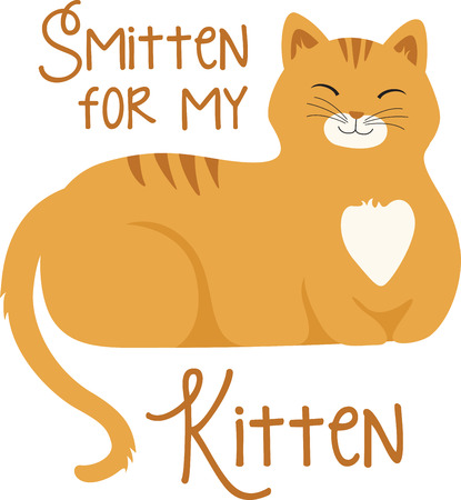 What a cute orange tabby cat logo!  Use this on a girls tee or pillowcase.