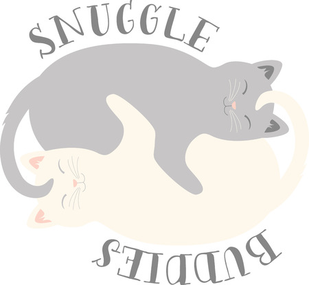 What a cute cuddling kittens logo!  Use this on a girls tee or pillowcase. 向量圖像