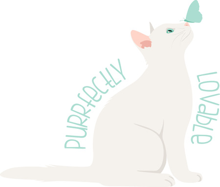 What a cute kitten  butterfly logo!  Use this on a girl's tee or pillowcase. Ilustração