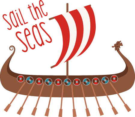 Show your school spirit with this viking boat design!  Use this on spirit wear for a great look! Stock Illustratie