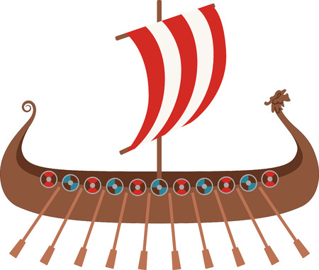 nautical vessel: Show your school spirit with this viking boat design!  Use this on spirit wear for a great look! Illustration