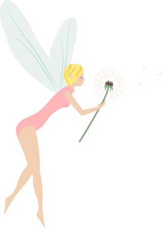 faery: What a pretty dandelion fairy design.  Add this on a windsock or yard flag for summer. Illustration