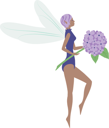 What a pretty hydrangea fairy design.  Add this on a windsock or yard flag for spring.