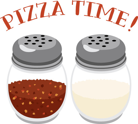 What a great design of shakers full of red pepper & parmesan cheese. This would be perfect on an apron for a pizza shop or tees.