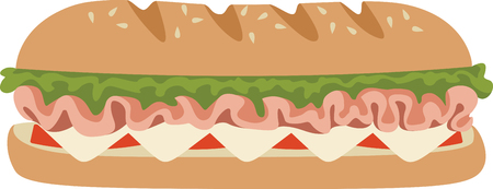 deli meat: This submarine sandwich design. Illustration
