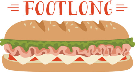 This submarine sandwich design. Stock Illustratie