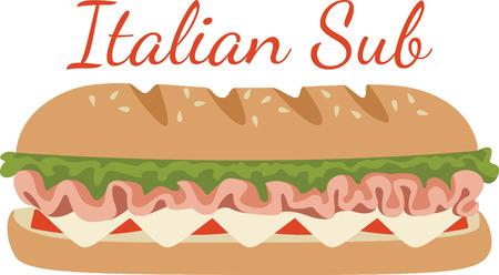 This submarine sandwich design. Ilustrace