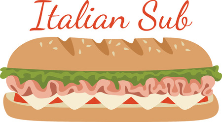 deli sandwich: This submarine sandwich design. Illustration