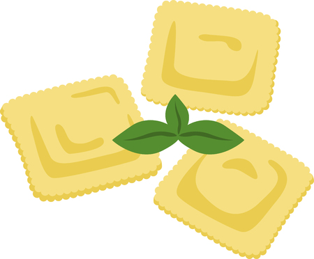 What a cool design of ravioli pasta. This would be great on an apron or tee.