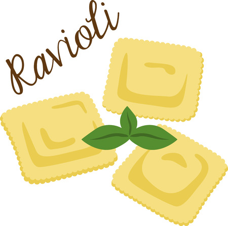 What a cool design of ravioli pasta. This would be great on an apron or tee. Stock Vector - 53635370