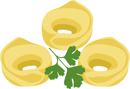 would: What a cool design of tortellini pasta. This would be great on an apron or tee. Illustration