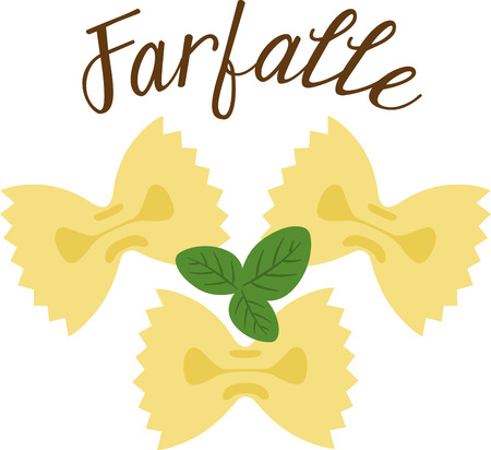 What a cool design of farfalle bowtie pasta. This would be great on an apron or tee.