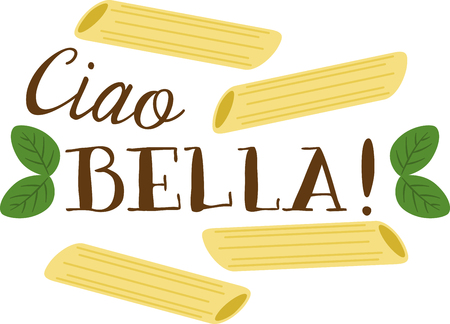 italian pasta: What a cool design of penne pasta. This would be great on an apron or tee. Illustration