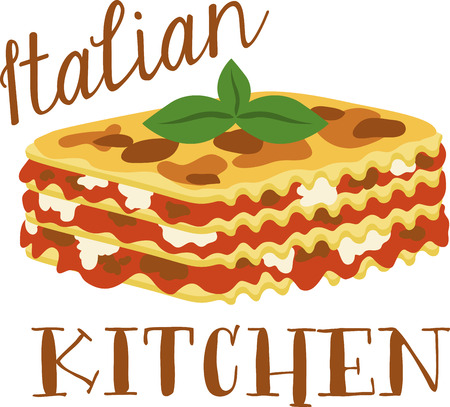 basil's: What a cool design of lasagna. This would be great on an apron or tee.