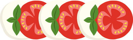 What a cool design of a mozzarella tomato. This would be great on an apron or tee. Illustration
