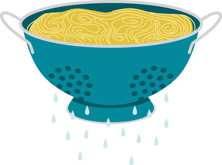 What a cool design of a spaghetti in a colander. This would be great on an apron or tee. Vetores