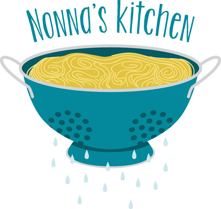 What a cool design of a spaghetti in a colander. This would be great on an apron or tee.