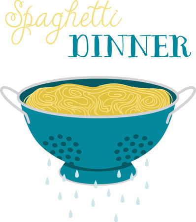 colander: What a cool design of a spaghetti in a colander. This would be great on an apron or tee.
