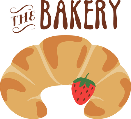 What a cool design of a strawberry croissant. This would be great on an apron or tee.
