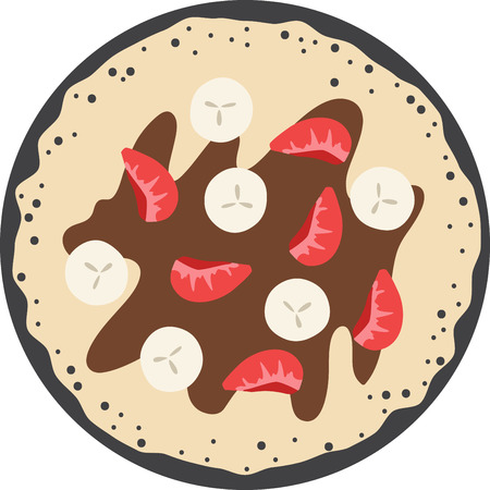 What a cool design of french crepes. This would be great on an apron or tee.