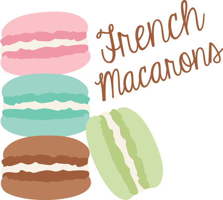 What a cool design of french macaroons. This would be great on an apron or tee.
