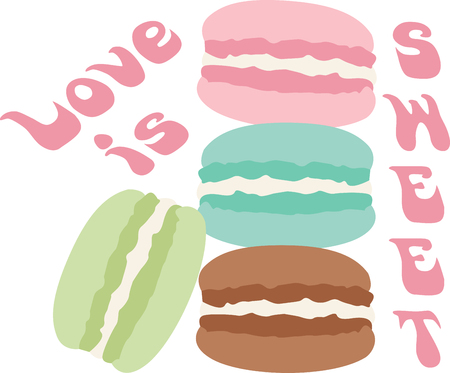 What a cool design of french macaroons. This would be great on an apron or tee. Stock Vector - 53645409
