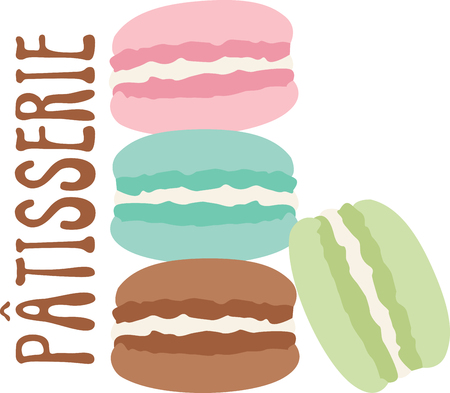 What a cool design of french macaroons. This would be great on an apron or tee. Stock Vector - 53645410